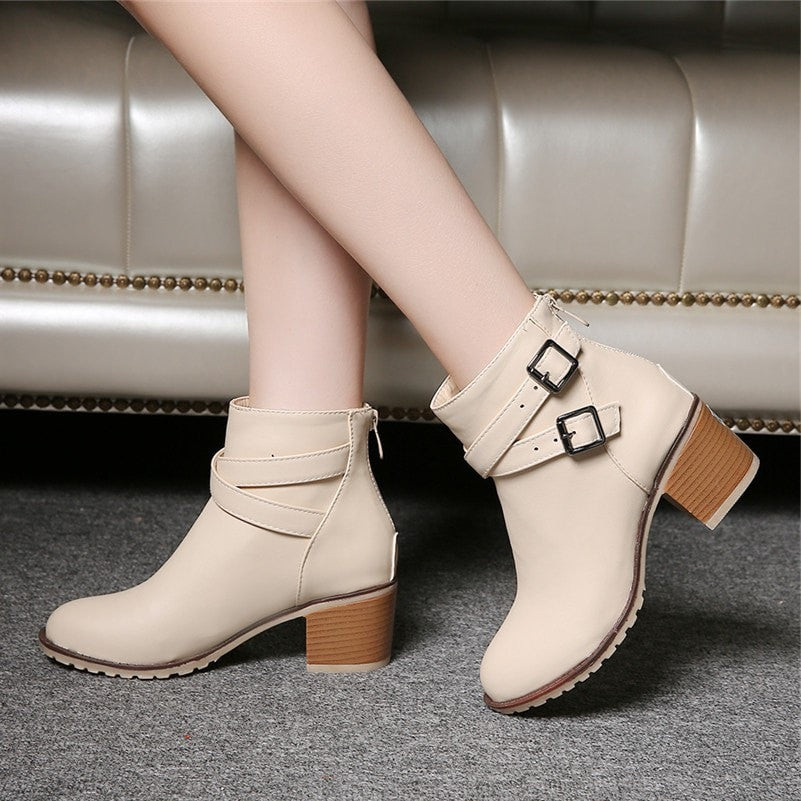 Women Fashion Block Heel Ankle Boots With Zipper Antumn Winter Shoes