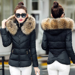 Women Winter Jacket With Fur Stand Collar Warm Womens Winter Coat padded Slim Female Parka Outwear