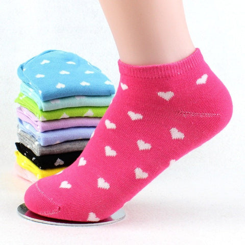 5 Pairs Women Short Socks Ankle Boat Low Cut Sock Dress Socks Cute Heart Print Crew Casual Cotton Blend Sock Chaussettes Femmes
