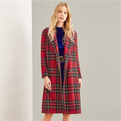 Multicolor Double Breasted Waterfall Plaid Longline Coat Elegant Pocket Knee Length Outerwear Women Autumn Trench Coats