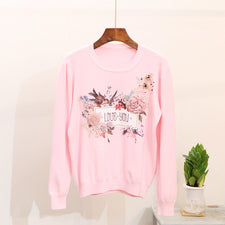 Autumn Knitted Sweater Female Pearl Paillette Flower Printing Knitting Elastic Female Pink White Outwear Tops