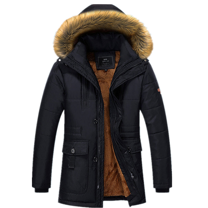 Winter Men Jacket Thick Jacket Down& Parkas Warm Hooded Parkas Male Windproof Outerwear Faux Fur Parka Coat