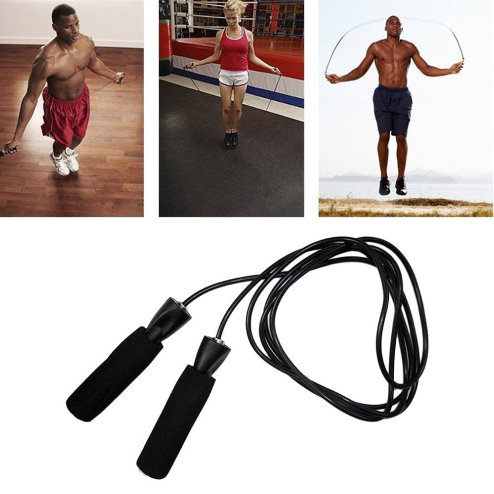 Costbuys  Aerobic Exercise Boxing Skipping Jump Rope Adjustable Bearing Speed Fitness Black