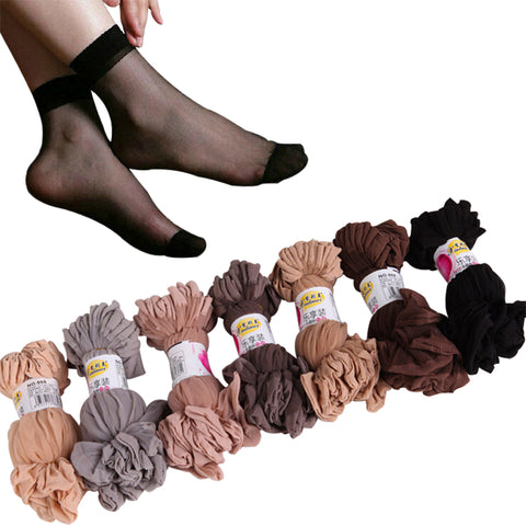 transparent crystal silk socks for women high elastic black nylon short socks