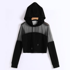 Sweatshirt Hoodies Autumn Women Streetwear Mesh Patchwork Hoodie Clothes Cropped