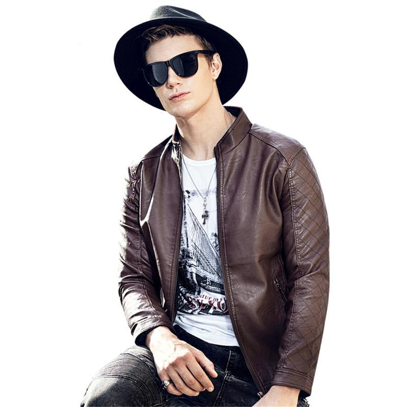 Men's PU Leather Jacket Autumn Winter Men Motorcycle Stand Collar Casual Leather Jackets Windbreaker Clothing