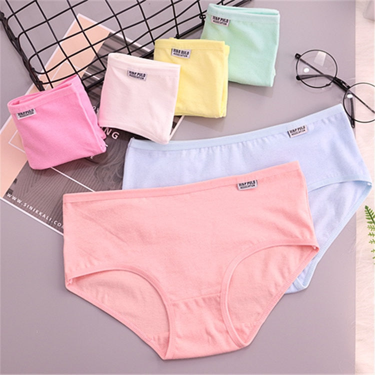 7Pcs/lot Underwear Women Girls Panties Plus Size Briefs Sexy Panties Women Lingeries Calcinhas Shorts Underpants Solid Panty