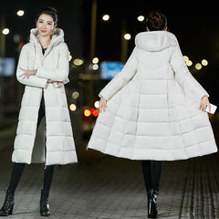 Women X-long Parkas Waterproof Windproof  winter basic style Solid Slim plus size hooded jacket coat