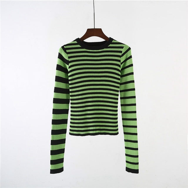 Costbuys  Striped Sweater Black & Green Color Block Ribbed Knit Slim Tops Sweater Women Pullovers