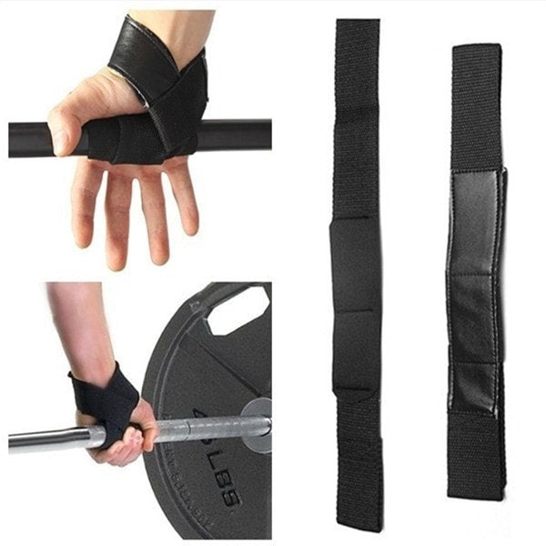 Costbuys  Men Leather Padded Gym Weight Lifting Straps Crossfit Wrist Support Wraps Hand Bar Bodybuilding Strength Power Trainin