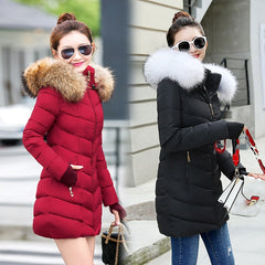 Women female coat woman parka long sleeve hood Slim keep Warm Fur collar white