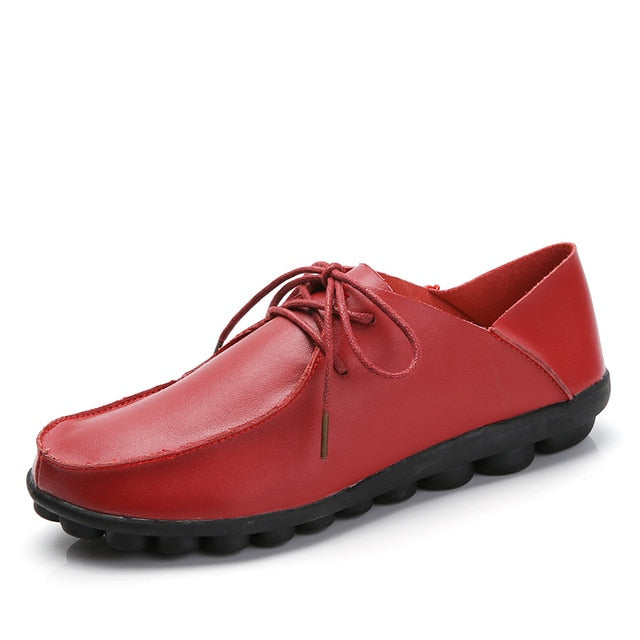 Costbuys  Spring Autumn Shoes Woman Genuine Leather Shoes Women Flats Casual Soft Comfortable Red Shoes - Wine Red / 6