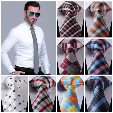 "Check 3.4"" 100%Silk Wedding Party Jacquard Woven Classic Men Tie Necktie"