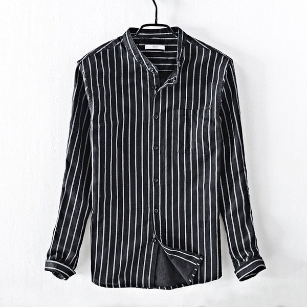 Costbuys  Casual men's striped shirt small stand collar cotton linen shirt men's white pocket shirts male camisa chemise - black