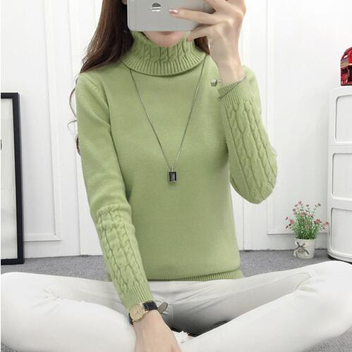 Costbuys  Women Turtleneck Winter Sweater Women Long Sleeve Knitted Women Sweaters And Pullovers Female Jumper Tricot Tops - Gre