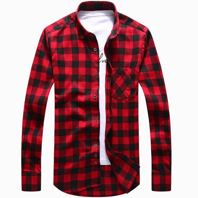 Costbuys  Red And Black Plaid Flannel Mens Shirts Long Sleeve Social Masculino Brand Autumn Button Checkerboard Male Shirts Chem
