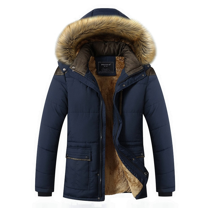 Fur Collar Hooded Men Winter Jacket  Warm Wool Liner Man Jacket and Coat Windproof Male Parkas