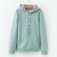 Casual Autumn Color Patchwork Hoodie Women Long Sleeve Cute Contrast Hooded Sweatshirt Fall Pocket Drawstring Hoodie