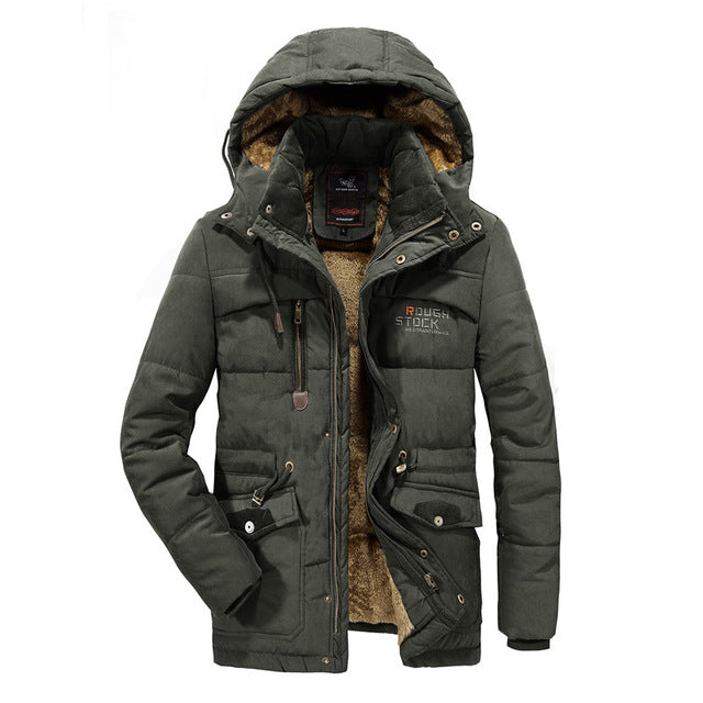 Men Winter Jacket Thick Warm Parka Fleece Fur Hooded Military Jacket Coat Pockets Windbreaker Jacket Men