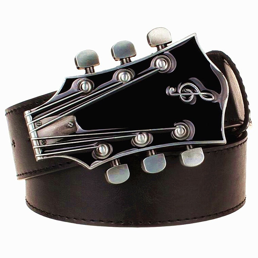 Costbuys  Fashion Men's belt metal buckle belts Retro guitar Street Dance accessories Performance apparel hip hop waistband nove