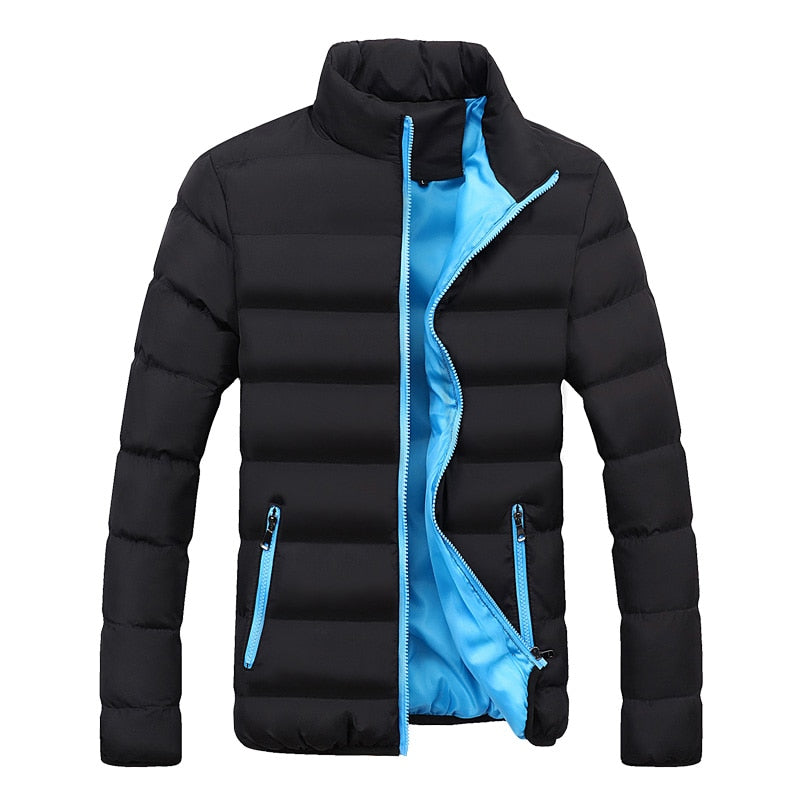 Autumn Winter Jacket Men Brand Clothing Casual Coat Men's Solid Color Simple Outwear Cotton Padded Parkas Male Stand Collar