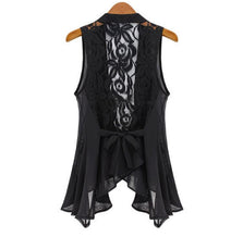 2014 big yards chiffon vest In the long section Chiffon Lace Vest Jacket STAND COLLAR ASYMMETRIC HEM CHIFFON VEST tops S-XXXXXL