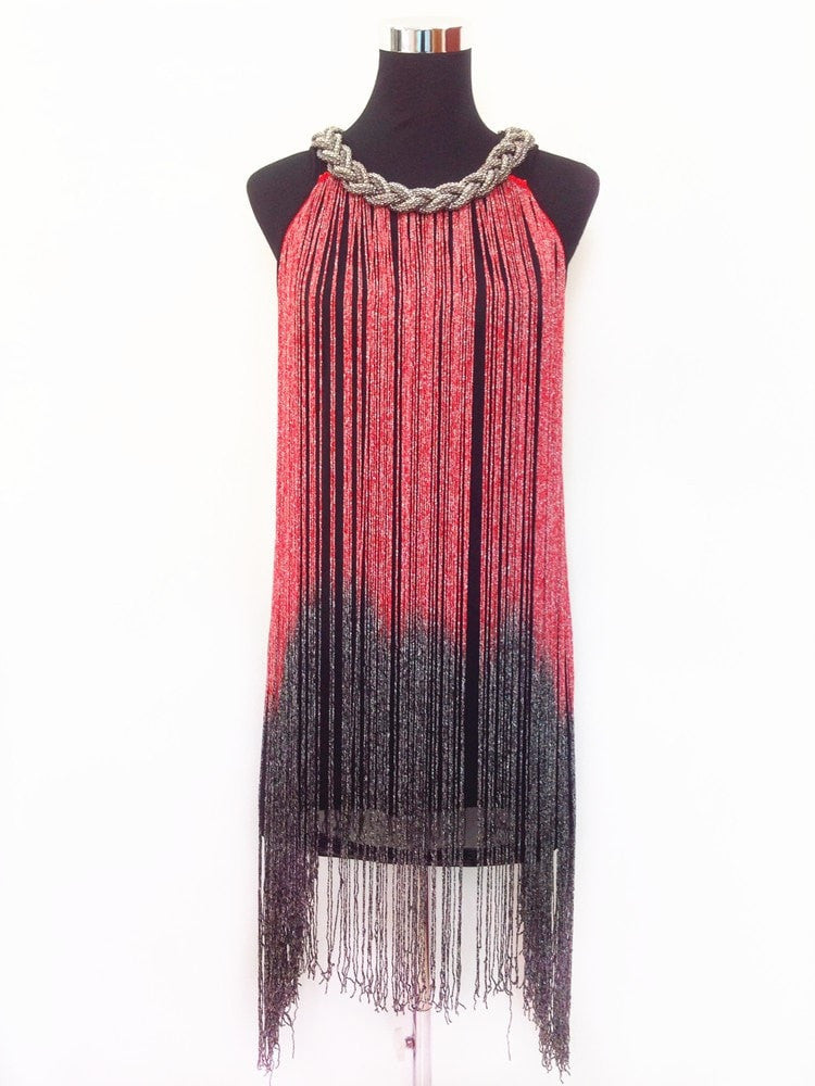 GREAT GATSBY OMBRE METAL HALTER-NECK BLACK FRINGE BEADED 1920S FLAPPER CHARLESTON DRESS