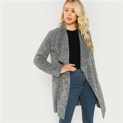 Grey Office Lady Elegant Waterfall Collar Solid Knee Length Teddy Coat Autumn Casual Fashion Women Coats Outerwear