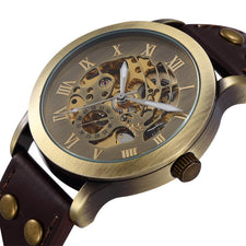 Antique Automatic Skeleton Mechanical Wrist Watch Black Leather Men's Wristwatch