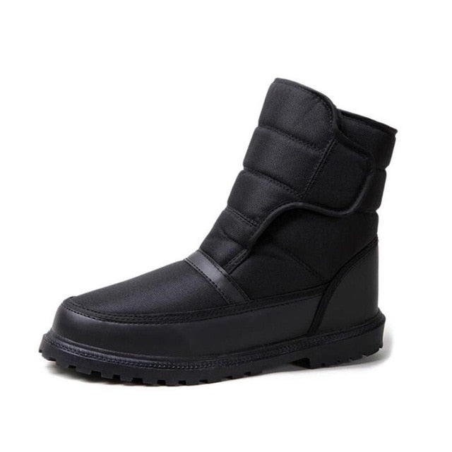 Costbuys  Men snow boots with anti-slip buckle boots waterproof non-slip winter shoes men warm fur ankle boots - Black / 10