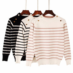 Autumn Winter Women Pullover Sweater Striped Designer Casual Jumper O-Neck Long Sleeves Female Sweater