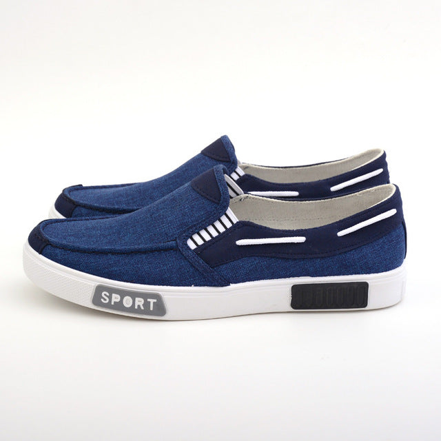 Costbuys  Spring And Autumn Linen Vamp Rubber Outsole Men'S Casual Shoes A Pedal Breathable Flat Shoes Men - blue / 10