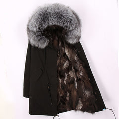 Women luxurious Large raccoon fur collar hooded coat warm Fox fur liner parkas long winter jacket