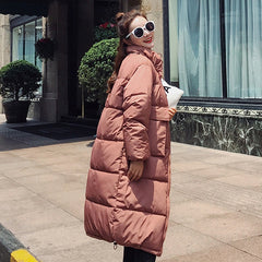 Solid Slim Long Size For Women's Cotton Slim Down Parka With Hooded Winter Jacket