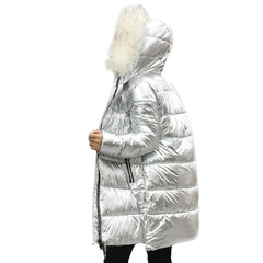 Fur Collar Silver Women's down jacket Women's mid-Length silver down jacket Warm Coat for Women Hooded Jacket Hot