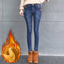 Winter Jeans Female High Waist Denim Pants Warm Trousers Femme Slim Thick Stretch Fleece Pencil Pants Skinny Jeans