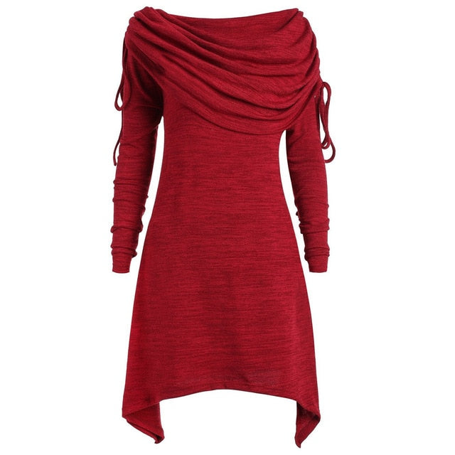 Costbuys  Autumn Party Dress Women Clothes Elegant Solid Long Sleeve Ladies Dresses Winter Vintage Dress - Red / XXL / China