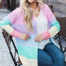 Striped Rainbow Sweater Women Cardigan Long Sleeve Winter Autumn Female Knitted Loose Jumpers For Ladies