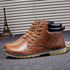 Leather Men Boots Autumn Winter Ankle Boots Casual Footwear Shoes Men Vintage Men Shoes