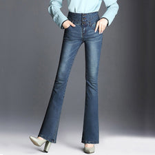 Female beautiful autumn slim flared jeans high waist women's bootleg black blue jeans
