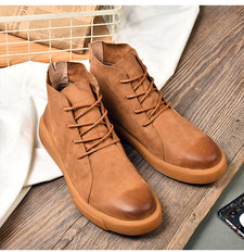 Men Boots Winter With Fur Leather Shoes Men Warm Casual Boot Male Rubber Ankle Snow Lace Up