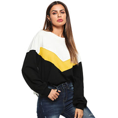 Multicolor Cut And Sew Color Block Pullover Casual Long Sleeve  Round Neck Sweatshirts Women Autumn Minimalist Sweatshirt
