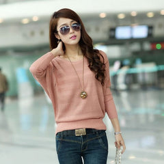 Female Solid Hollow Out Knitted Sweater Long Batwing Sleeve Wear Casual Loose Knitted Pullover Women Autumn Jumper