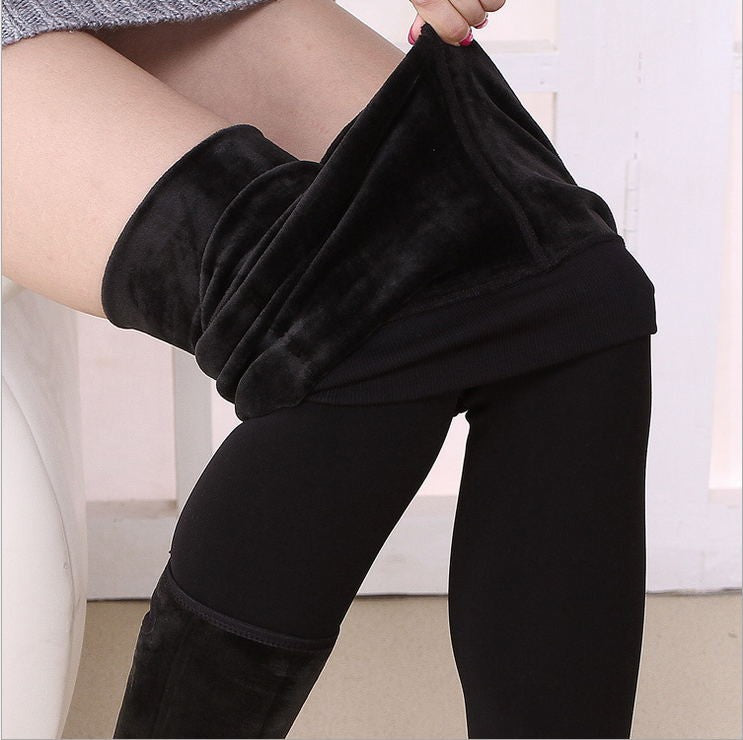 Trend Knitting New Autumn And Winter Women's Fashion High Waist Pants And Good Quality Thick Velvet Leggings Pants