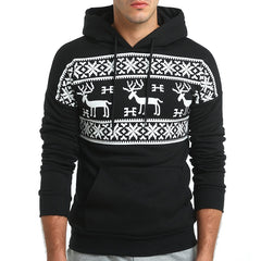 Christmas Snowflower Prints Pullover Winter Sweater Men Black  Sweater  Men's Elk Hood