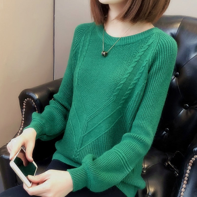 Women Pullover Female Sweater  Autumn Winter Warm Casual Loose Knitted Tops
