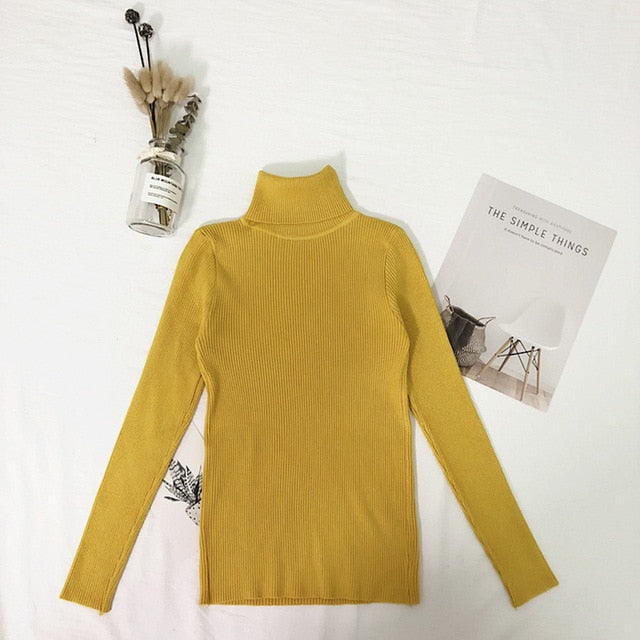 Costbuys  Womens Sweaters Winter Tops Turtleneck Sweater Women Thin Pullover Jumper Knitted Sweater Pull - Yellow / One Size