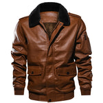 Winter Jackets Men Casual Outwear Bomber Jacket Windbreaker PU Motorcycle Leather Jackets male fur coat
