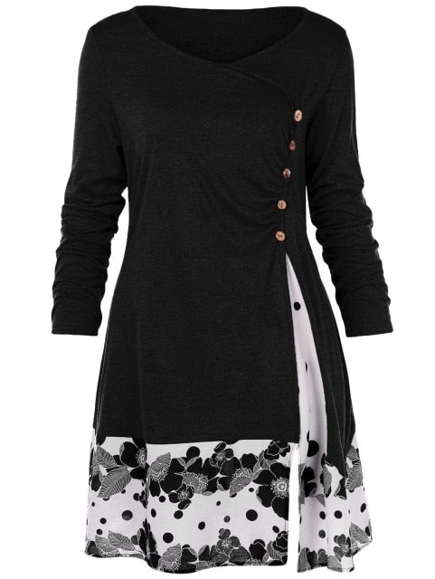 Costbuys  Floral Long Tunic Shirts Long Sleeve O-Neck Buttons Embellished Women Blouse Casual Autumn Tops Tee - Black / 4XL