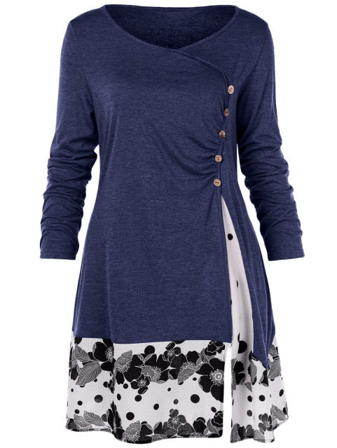 Costbuys  Floral Long Tunic Shirts Long Sleeve O-Neck Buttons Embellished Women Blouse Casual Autumn Tops Tee - Deep Blue / 4XL